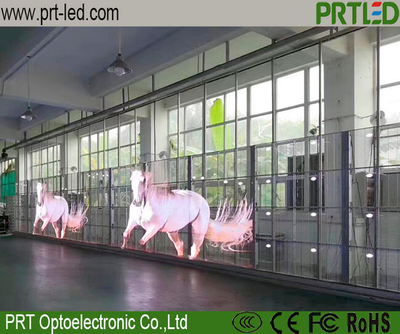 P3.91, P7.81 Full Color Transparent LED Display Glass Screen for Outdoor Indoor Advertising