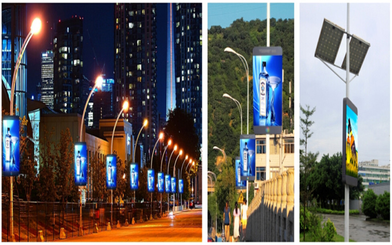 Outdoor P5 Full Color Pole LED Sign Board Controlled by 3G/GPS